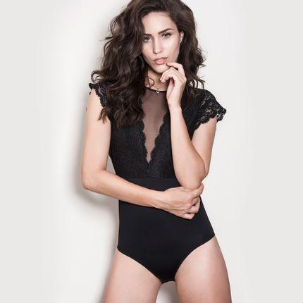 Body-Elegance-Decote-Tule-Preto-P