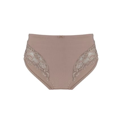 Calcinha-Cintura-Alta-Com-Reforco-Frontal-e-Renda-Perfect-Curves-Beige-Fonce-EG